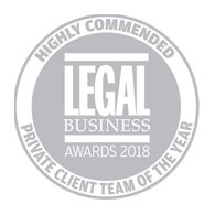 Private Client Team of the Year - Legal Business Awards 2018
